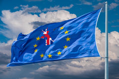 Flag of European Union. Brexit. European Union flag on background of clouds.Brexit stock image
