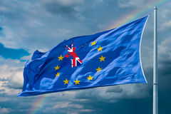 Flag of European Union. Brexit. European Union flag on background of clouds. Brexit stock photography