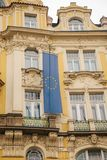 The flag of the European Union on a building in Prague in the Czech Republic. Europe. European Union. Symbol. Stock Photos