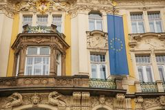The flag of the European Union on a building in Prague in the Czech Republic. Europe. European Union. Symbol. Royalty Free Stock Images