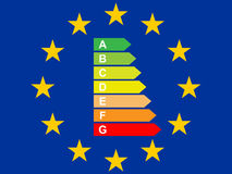 Flag of the European Union with Energy Label Royalty Free Stock Photography