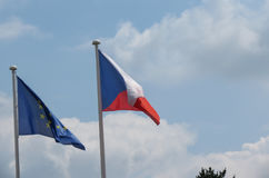 Flag of the European Union EU and Czech Republic Royalty Free Stock Photos
