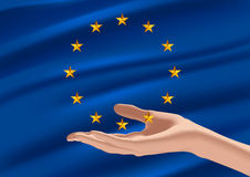 Flag of the European Union. The European Union (EU) is an economic and political union of 28 member states that are located primarily in Europe Stock Images