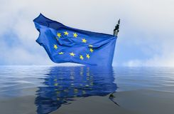 Flag of European Union in a flood with reflection - conceptual art. Flag of European Union in a flood with reflection - conceptual for breakup of the trading stock photography