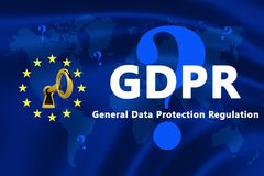 Flag of the European Union with GDPR text stock illustration