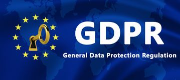 Flag of the European Union with GDPR text and key symbol - General Regulation of the protection of data royalty free illustration
