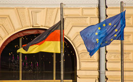 Flag of European Union and Germany on the building Stock Photo
