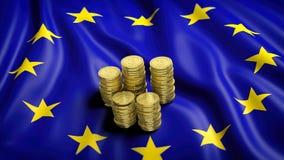 Flag of European Union with golden Bitcoin stacks Royalty Free Stock Photos