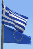 Flag of European union and Greek flag Royalty Free Stock Photo