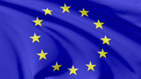 Flag of European Union. National flag of European Union (Europe) flying in the wind, 3d illustration closeup view Stock Images