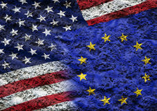 Flag of the European Union and the USA. Against the background of the stone texture Royalty Free Stock Photos
