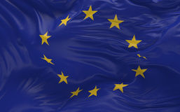 Flag of the European Union waving in the wind 3d render Royalty Free Stock Photography