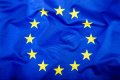 Flag of European Union waving in the wind. Royalty Free Stock Images