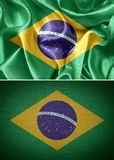 Flag. Fabric flags brazil. glossy background Royalty Free Stock Images
