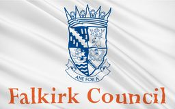 Flag of Falkirk council of Scotland, United Kingdom of Great Bri. Flag of Falkirk is one of 32 unitary authority council areas of Scotland Stock Illustration