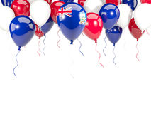 Flag of falkland islands on balloons. Flag of falkland islands, with balloons frame isolated on white. 3D illustration Stock Images
