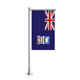 Flag of Falkland Islands hanging on a pole. Falkland Islands vector banner flag hanging on a silver metallic pole. Falkland Islands vertical flag template Stock Photography