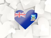 Flag of falkland islands, heart shaped stickers. Background. 3D illustration Stock Photos