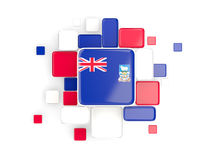 Flag of falkland islands, mosaic background. With square parts. 3D illustration Stock Images