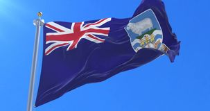 Flag of the Falkland Islands waving at wind with blue sky, loop. Flag of the Falkland Islands waving at wind with blue sky in slow, loop stock video footage