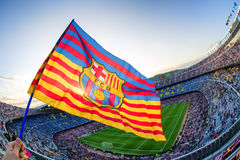 Flag of FC Barcelona at stadium Nou Camp Royalty Free Stock Photo