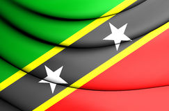 Flag of Federation of Saint Kitts and Nevis. 3D Illustration Stock Images