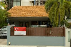 Flag  at the fence for National Day of Singapore Royalty Free Stock Image