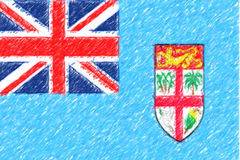 Flag of Fiji background o texture, color pencil effect. Royalty Free Stock Photo