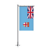 Flag of Fiji hanging on a pole. Stock Images