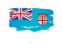 Flag of Fiji. Abstract concept. Flag of Fiji. Vector illustration on white background. Beautiful brush strokes. Abstract concept. Elements for design Royalty Free Stock Image