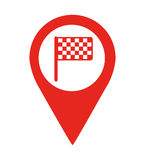 Flag finish location pin  isolated icon design Royalty Free Stock Photos