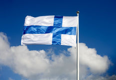 Flag of Finland. In the wind Royalty Free Stock Images