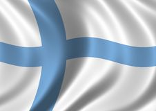 Flag of Finland. Waving in the wind Royalty Free Stock Photography