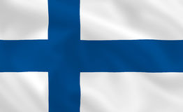 Flag of Finland. Finnish waving flag (background or wallpaper Stock Images