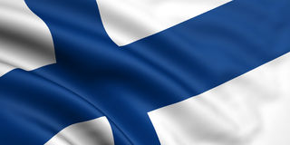 Flag Of Finland. 3d rendered and waving flag of finland Stock Image