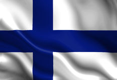 Flag of finland. Waving in the wind Royalty Free Stock Photo
