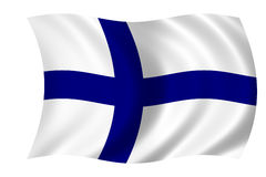 Flag of Finland. Waving flag of finland - finnish flag Stock Photos