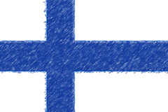 Flag of Finland background o texture, color pencil effect. Royalty Free Stock Photography