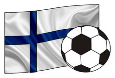 Flag of Finland with a ball. National flag of Finland with a soccer ball Royalty Free Stock Images