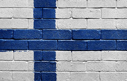 Flag of Finland on brick wall Stock Photography