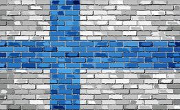 Flag of Finland on a brick wall. Illustration Royalty Free Stock Photography