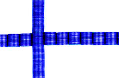 Flag finland. Buildt by coins Stock Photo