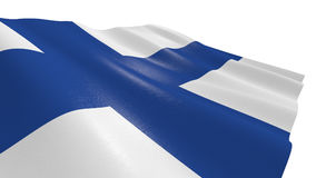Flag of finland. Close-up view of the flag of finland on white background 3d render Stock Image