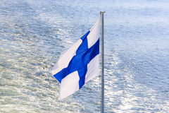 Flag of Finland on cruise ship. Royalty Free Stock Image