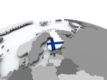 Flag of Finland on globe. Finland on grey political globe with embedded flag. 3D illustration Stock Image