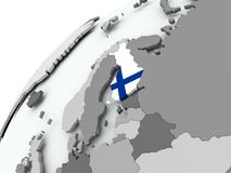 Flag of Finland on grey globe. Finland with embedded flag on globe. 3D illustration Stock Photos