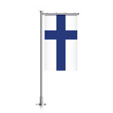 Flag of Finland hanging on a pole. Finland vector banner flag hanging on a silver metallic pole. Finland vertical flag template isolated on a white background Stock Photo