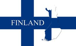 Flag of Finland With Map Of Country On It 3D illustration. Finland Flag With Map Of Country  3D Illustration Royalty Free Stock Images