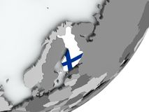Flag of Finland on map. Finland on political globe with flag. 3D illustration Royalty Free Stock Images