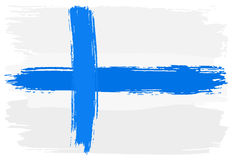 Flag of Finland painted with brush strokes Royalty Free Stock Images